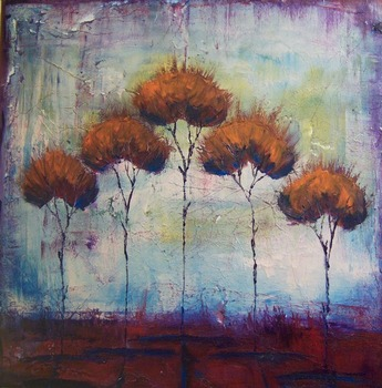 autumn fire by artist Kristen Stein. Giclee prints, art prints, a landscape, an abstract landscape of trees; from an original oil painting