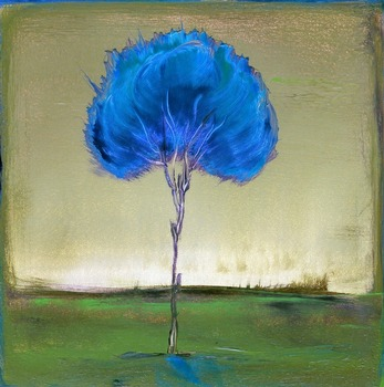 Singular Beauty : Green Glow - Tree Landscape by artist Kristen Stein. Giclee prints, art prints, a landscape, an abstract blue tree; from an original oil painting