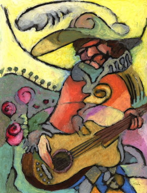Giclee prints, artprints of man playing guitar The Travelling Guitarist by Mark Preston