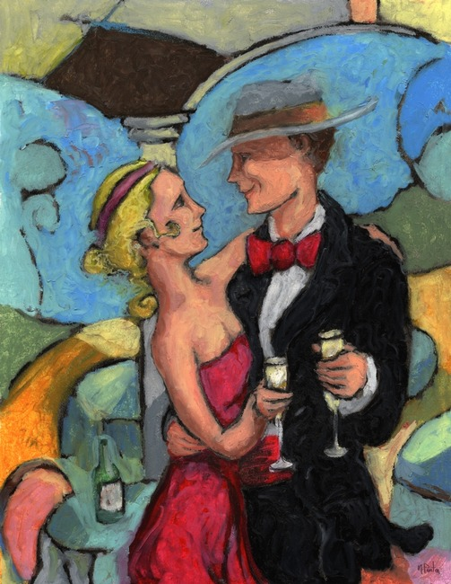 Giclee prints, artprints of a man and a woman dancing �The Wine Lunch� by Mark Preston