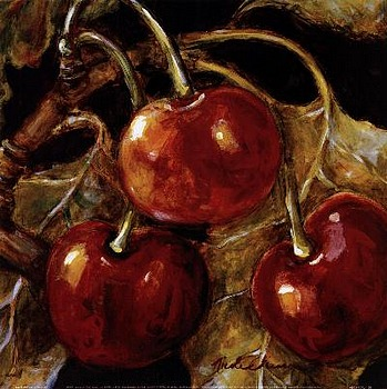 Art prints, posters, A painting of cherries, Sweet Cherries I by artist Nicole Etienne