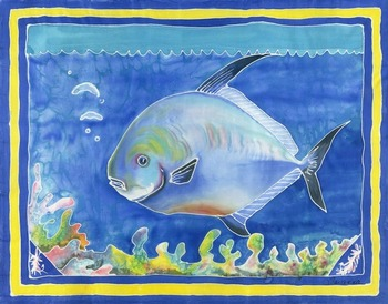Permit or The fish that got away by artist Savanna Redman. Giclee prints, art prints, animal art, fish art, a colorful permit fish; from an original Serti technique on silk; silk painting
