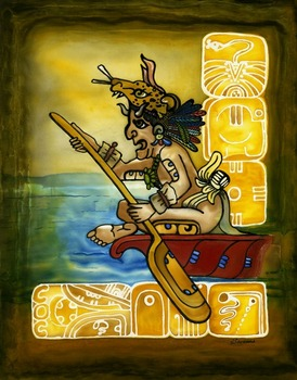 Jaguar Paddler God by artist Savanna Redman. Giclee prints, art prints, an illustration, a native with jaguar headdress paddling a canoe; from an original Serti technique on silk; silk painting