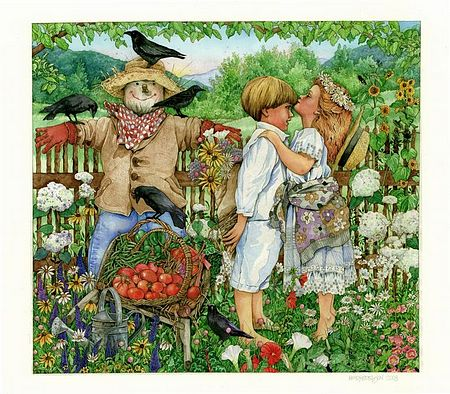 Two children kissing, giclee prints, art prints, Summer Kiss by Wendy Edelson