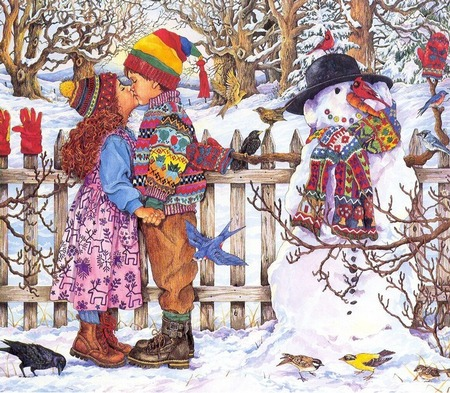Two children kissing, giclee prints, art prints, Winter Kiss by Wendy Edelson