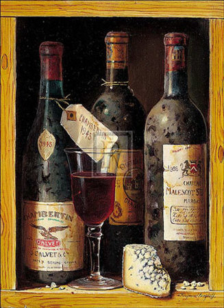 Poster prints, Art prints of wine bottles with cheese �Chambertin, 1945� by Raymond Campbell