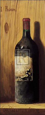Posters, art prints, A bottle of wine, Chateau Latour 1978 by English artist Raymond Campbell