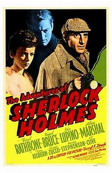 Movie posters, movies, movie poster, framed art, posters, The Adventures of Sherlock Holms, mystery movies, mystery films, Basil Rathbone, Nigel Bruce, Ida Lupino